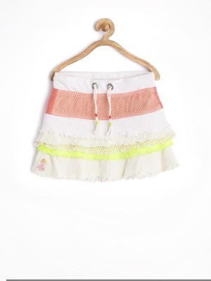 Jn Joy Self Design Girl's A-line White Skirt