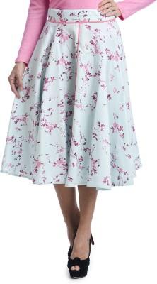Bohemian You Floral Print Women's A-line Light Blue Skirt