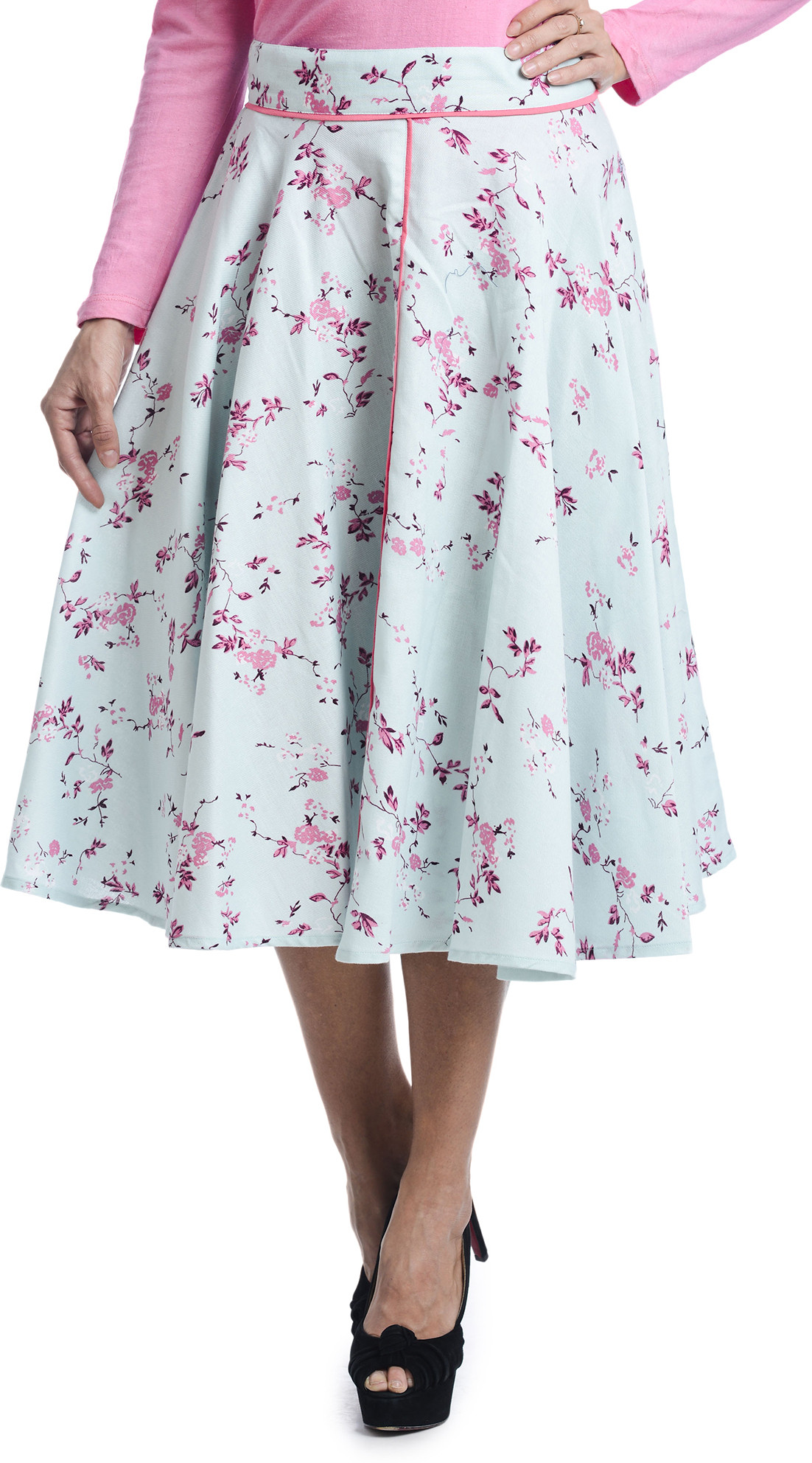 Bohemian You Floral Print Womens A-line Light Blue Skirt