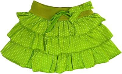 Garlynn Polka Print Girl's Layered Green Skirt