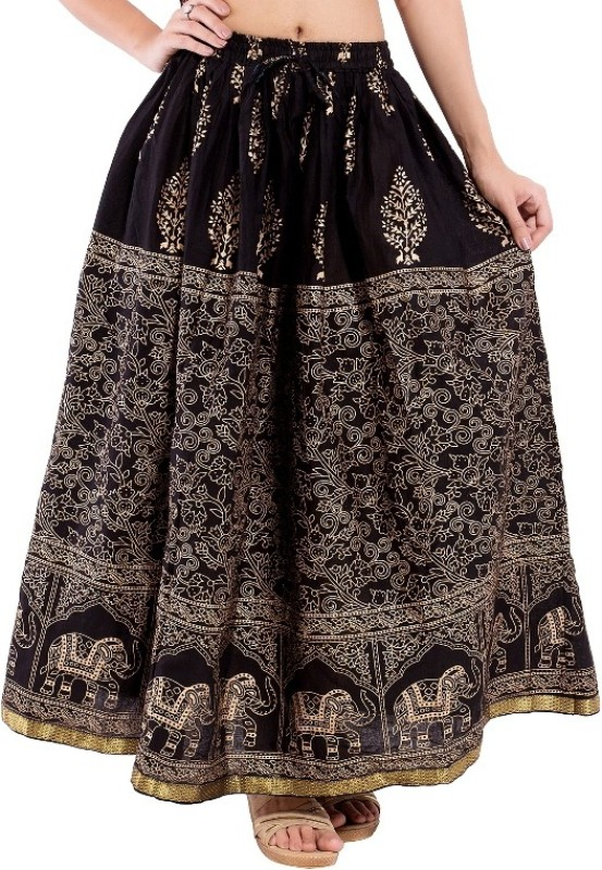 Magnus Animal Print Women's Regular Black Skirt