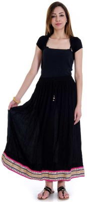 rebella Solid Women's A-line Black Skirt