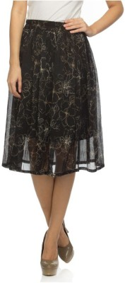 Tara Lifestyle Printed Women's Gathered Black Skirt