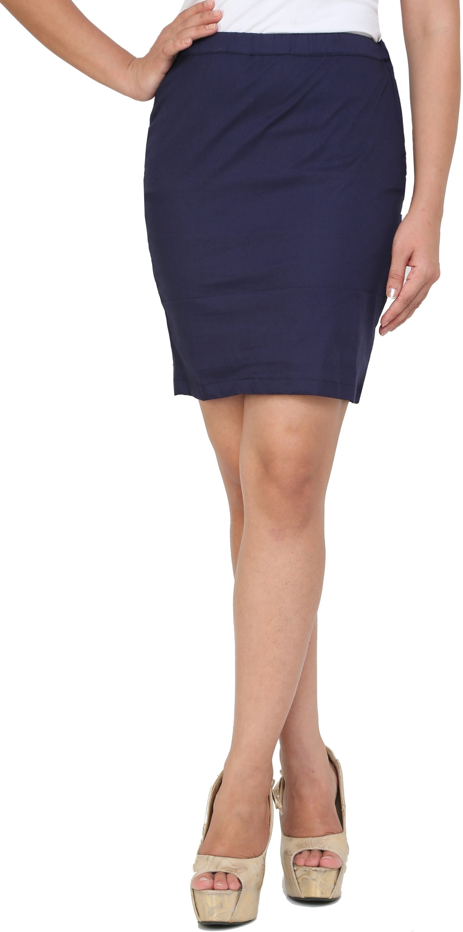 Cottinfab Solid Womens A-line Dark Blue Skirt