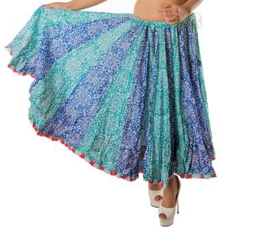 Chidiyadesigns Printed Women's Gathered Green, Blue Skirt