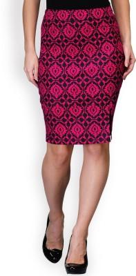 Purplicious Floral Print Women's Pencil Pink, Black Skirt