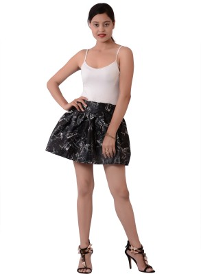 Fashnopolism Graphic Print Women's Bubble Black Skirt