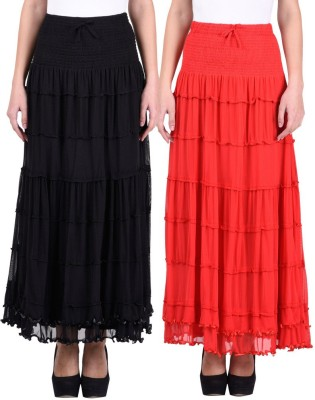 Numbrave Solid Women's Gathered Black, Red Skirt