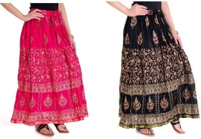 Ooltah Chashma Printed Women's Broomstick Pink, Black Skirt