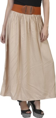 MansiCollections Solid Women's A-line Beige Skirt