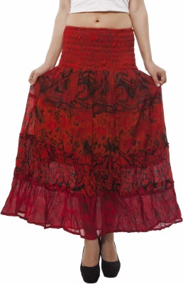 Indi Bargain Floral Print Women's A-line Red Skirt