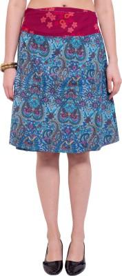 Tuntuk Printed Women's A-line Blue Skirt