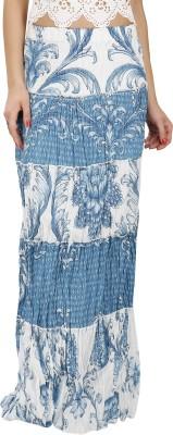 Svt Ada Collections Floral Print Women,s Regular Light Blue Skirt