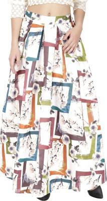 Svt Ada Collections Graphic Print Women's Regular White Skirt