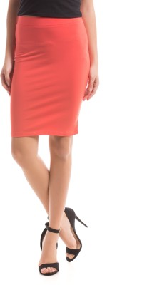 Prym Solid Women's Regular Red Skirt
