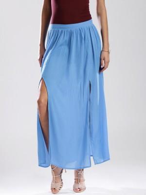 Anouk Solid Women's Straight Blue Skirt