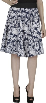 Shopingfever Printed Women's A-line White, Blue Skirt