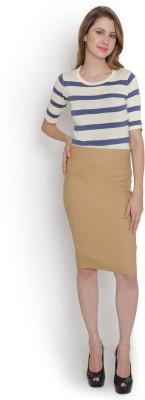 Purple Feather Solid Women's Pencil Beige Skirt