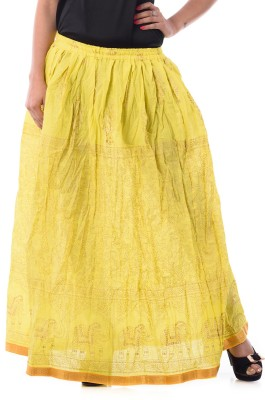 Patterns Lets Create Printed Women's Gathered Yellow Skirt
