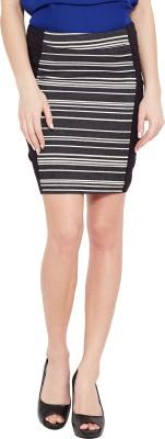 Ozel Striped Women's Regular Black Skirt