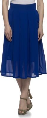 Tara Lifestyle Solid Women's Gathered Blue Skirt