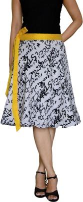 DeeVineeTi Printed Women's Wrap Around White Skirt