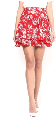Martini Printed Women's Layered Red Skirt at flipkart