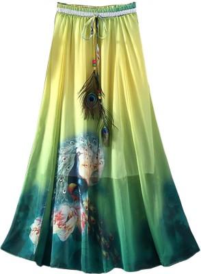 Jassu Fashion Hub Printed Women,s Regular Yellow, Green Skirt