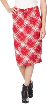 American Swan Self Design Women's A-line Red Skirt