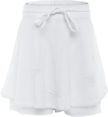 FS Mini Klub Printed Girl's A-line White Skirt