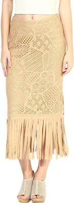 Taurus Self Design Women's Pencil Beige Skirt