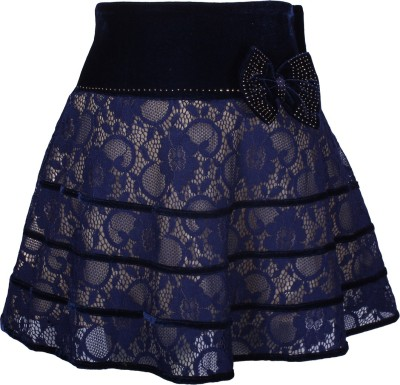 Cutecumber Embellished Girl's A-line Blue Skirt