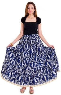 rebella Printed Women's A-line Dark Blue Skirt