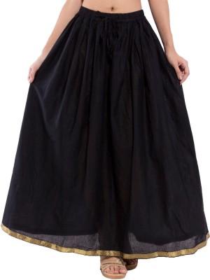 Kanak Solid Women's Regular Black Skirt