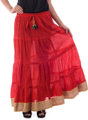 Patterns Lets Create Solid Women's Tiered Red Skirt
