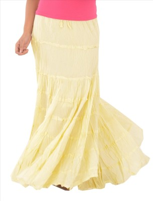 Skirts & Scarves Solid Women's Tiered Yellow Skirt
