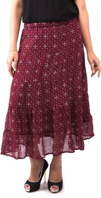 Goodwill Impex Floral Print Women's A-line Maroon Skirt