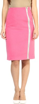 Harpa Solid Women's A-line Pink Skirt