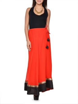 Hoor Solid Women's A-line Red Skirt