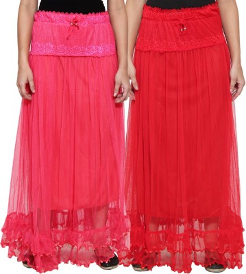 NumBrave Self Design Women's Layered Pink, Red Skirt