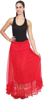NumBrave Self Design Women's Layered Red Skirt