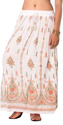Pms Fashions Printed Women's Regular White Skirt