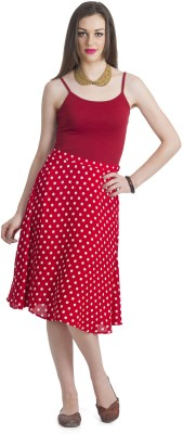 Bohemian You Polka Print Women's A-line Red Skirt