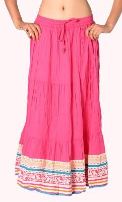 SBS Solid Women's Tiered Pink Skirt