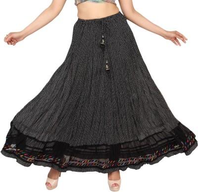 Carrel Polka Print Women's Broomstick Black Skirt