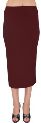 SHYIE Solid Women,s Pencil Brown Skirt
