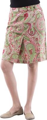 Aarr Printed Women's Straight Green Skirt