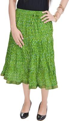 UFC Mart Embroidered Women's Regular Green Skirt