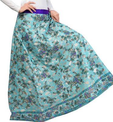 Admyrin Printed Women's Wrap Around Light Blue Skirt