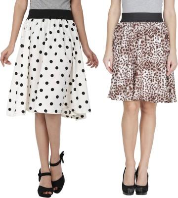 Shopingfever Printed Women's A-line White, Brown Skirt at flipkart